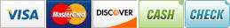 We Accept Visa, MasterCard, Discover, Cash and Check.